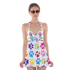 Paw Print Paw Prints Background Halter Swimsuit Dress