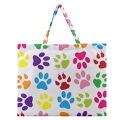 Paw Print Paw Prints Background Zipper Large Tote Bag by Amaryn4rt