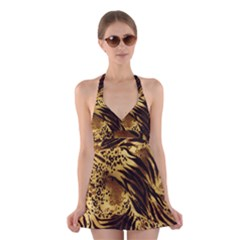 Pattern Tiger Stripes Print Animal Halter Swimsuit Dress