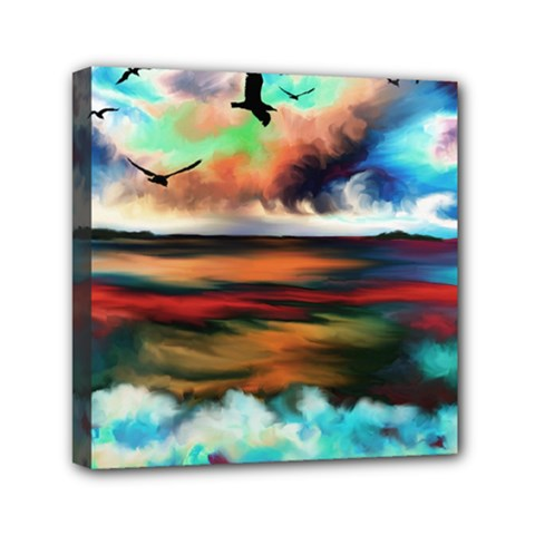 Ocean Waves Birds Colorful Sea Mini Canvas 6  X 6  by Amaryn4rt