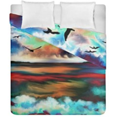 Ocean Waves Birds Colorful Sea Duvet Cover Double Side (california King Size) by Amaryn4rt