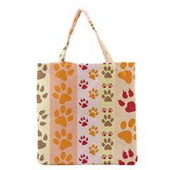 Paw Print Paw Prints Fun Background Grocery Tote Bag by Amaryn4rt