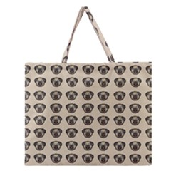 Puppy Dog Pug Pup Graphic Zipper Large Tote Bag by Amaryn4rt