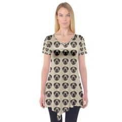Puppy Dog Pug Pup Graphic Short Sleeve Tunic