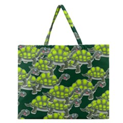Seamless Tile Background Abstract Turtle Turtles Zipper Large Tote Bag by Amaryn4rt