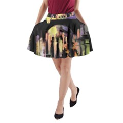 Street Colorful Abstract People A Line Pocket Skirt