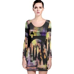 Street Colorful Abstract People Long Sleeve Velvet Bodycon Dress