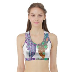 Vintage Style Floral Butterfly Sports Bra With Border