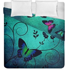 Texture Butterflies Background Duvet Cover Double Side (king Size) by Amaryn4rt