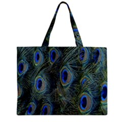 Peacock Feathers Blue Bird Nature Zipper Mini Tote Bag by Amaryn4rt