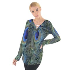 Peacock Feathers Blue Bird Nature Women s Tie Up Tee