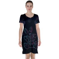 Easter Bunny Hare Rabbit Animal Short Sleeve Nightdress by Amaryn4rt