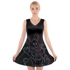 Easter Bunny Hare Rabbit Animal V Neck Sleeveless Skater Dress by Amaryn4rt