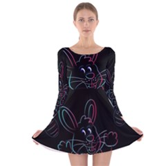 Easter Bunny Hare Rabbit Animal Long Sleeve Velvet Skater Dress by Amaryn4rt