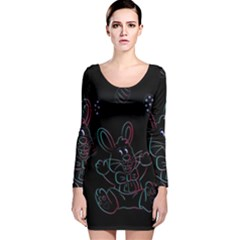 Easter Bunny Hare Rabbit Animal Long Sleeve Velvet Bodycon Dress by Amaryn4rt