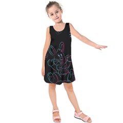 Easter Bunny Hare Rabbit Animal Kids  Sleeveless Dress