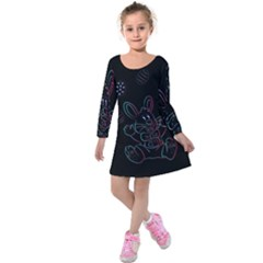 Easter Bunny Hare Rabbit Animal Kids  Long Sleeve Velvet Dress by Amaryn4rt