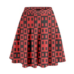 Abstract Background Red Black High Waist Skirt by Amaryn4rt