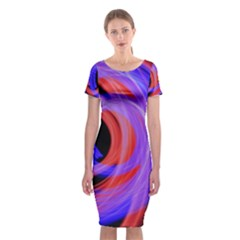 Background Blue Red Classic Short Sleeve Midi Dress by Amaryn4rt