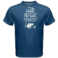 Blue Cat Is The Best Therapist  Men s Cotton Tee