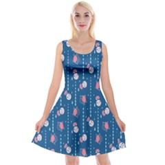 Pig Pork Blue Water Rain Pink King Princes Quin Reversible Velvet Sleeveless Dress