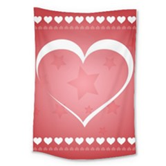 Postcard Banner Heart Holiday Love Large Tapestry by Amaryn4rt