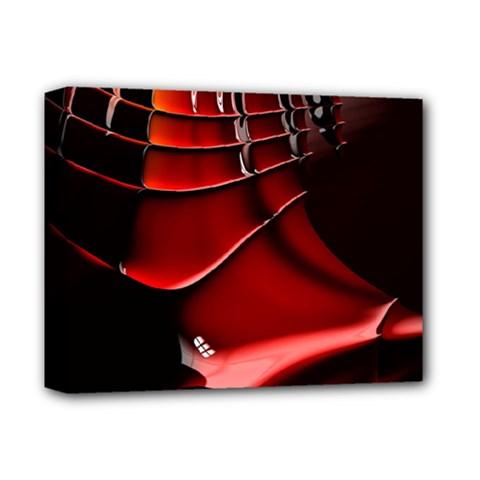 Red Black Fractal Mathematics Abstract Deluxe Canvas 14  X 11  by Amaryn4rt