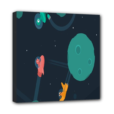 Space Illustration Irrational Race Galaxy Planet Blue Sky Star Ufo Mini Canvas 8  X 8