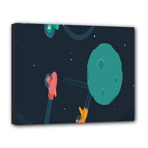 Space Illustration Irrational Race Galaxy Planet Blue Sky Star Ufo Canvas 14  X 11