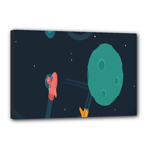 Space Illustration Irrational Race Galaxy Planet Blue Sky Star Ufo Canvas 18  X 12