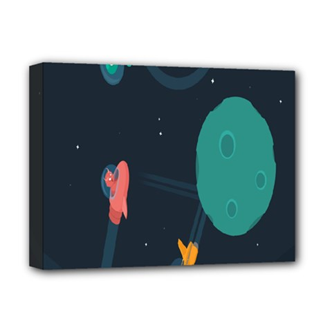 Space Illustration Irrational Race Galaxy Planet Blue Sky Star Ufo Deluxe Canvas 16  X 12   by Alisyart