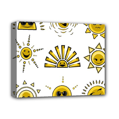 Sun Expression Smile Face Yellow Deluxe Canvas 14  X 11  by Alisyart