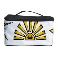 Sun Expression Smile Face Yellow Cosmetic Storage Case by Alisyart