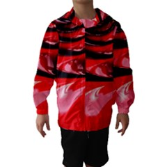 Red Fractal Mathematics Abstract Hooded Wind Breaker (kids) by Amaryn4rt