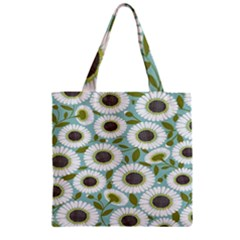 Sunflower Flower Floral Zipper Grocery Tote Bag by Alisyart