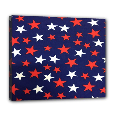 Star Red White Blue Sky Space Deluxe Canvas 24  X 20   by Alisyart
