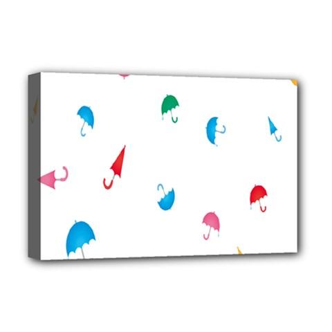 Umbrella Green Orange Red Blue Pink Water Rain Deluxe Canvas 18  X 12   by Alisyart