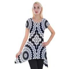 Pattern Tile Seamless Design Short Sleeve Side Drop Tunic