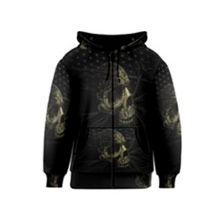 Skull Fantasy Dark Surreal Kids  Zipper Hoodie by Amaryn4rt