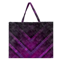 Purple Background Wallpaper Motif Design Zipper Large Tote Bag by Amaryn4rt