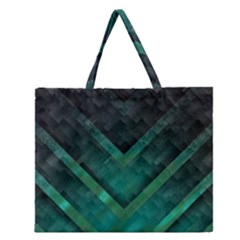 Green Background Wallpaper Motif Design Zipper Large Tote Bag by Amaryn4rt