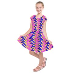 Triangle Pink Blue Kids  Short Sleeve Dress