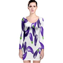 Vegetables Eggplant Purple Long Sleeve Velvet Bodycon Dress by Alisyart