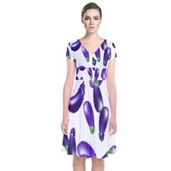 Vegetables Eggplant Purple Short Sleeve Front Wrap Dress by Alisyart