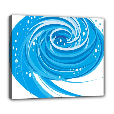 Water Round Blue Deluxe Canvas 24  X 20
