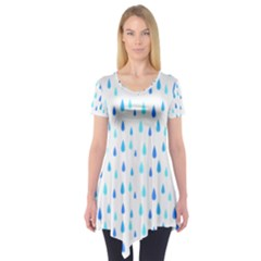 Water Rain Blue Short Sleeve Tunic  by Alisyart