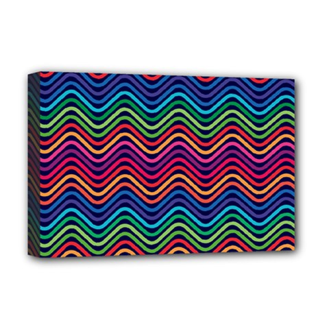 Wave Chevron Rainbow Color Deluxe Canvas 18  X 12   by Alisyart