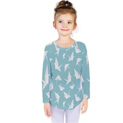 Origamim Paper Bird Blue Fly Kids  Long Sleeve Tee