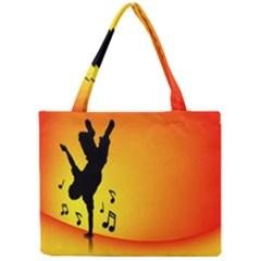 Breakdancer Dancing Orange Mini Tote Bag by Alisyart