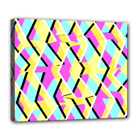 Bright Zig Zag Scribble Yellow Pink Deluxe Canvas 24  X 20   by Alisyart